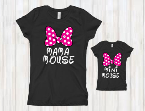 Mama Mouse and Mini Mouse Shirt Set/ Mom and Daughter shirt set/ Matching Shirts for Mommy and Me - SouthernHearth Custom Tees & More