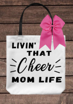 Livin That Cheer Mom Life Tote Bag/ Cheerleader BAg/ Cheer Coach Bag/ End of Season Coach Gift/ Mother's Cay Gift/ Canvas Cheer Bag/