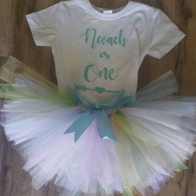 Baby Girl 1st Birthday tutu outfit, First Birthday shirt, Girl's first birthday tutu