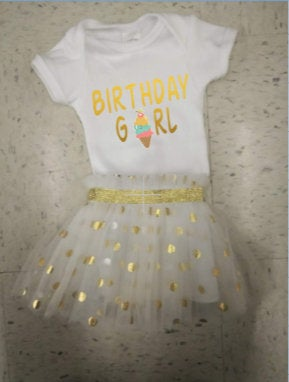 Birthday Girl tutu outfit/ !st Birthday tutu outfit/  Gold tutu outfit