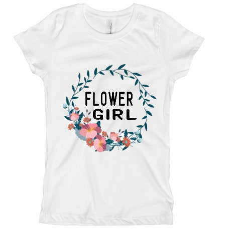 Flower Girl Floral wreath tee shirt/ Wedding Shirt for Flower Girl/ Girl's wedding tee shirt