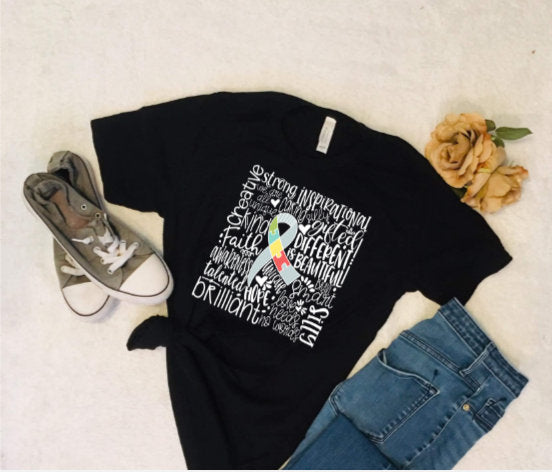 Autism Awareness Tee Shirt/ Autism Mom Shirt/ Autism Ribbon shirt/ Autism support tee shirt
