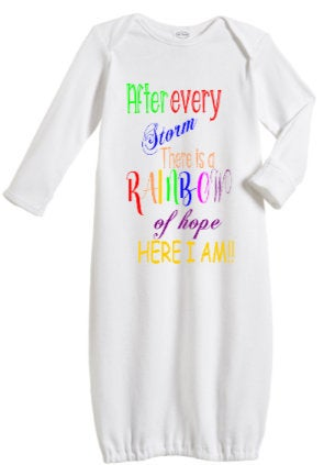 Rainbow Baby newborn Gown/ Miracle baby top/ Rainbow Baby shower gift/ In Vitro Miracle baby gown