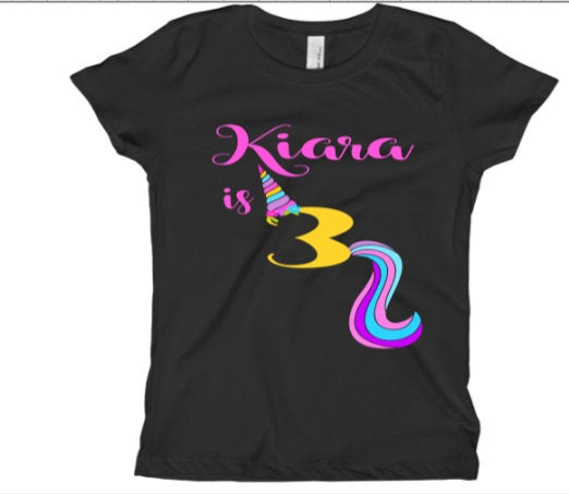 Unicorn Birthday shirt for Girls/ Little Girls custom birthday tee shirt