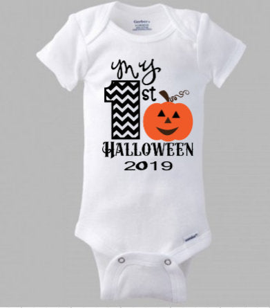 My first Halloween  shirt/ Pumpkin shirt personalized with name and current year/ Baby Boy or Girl Halloween body suit