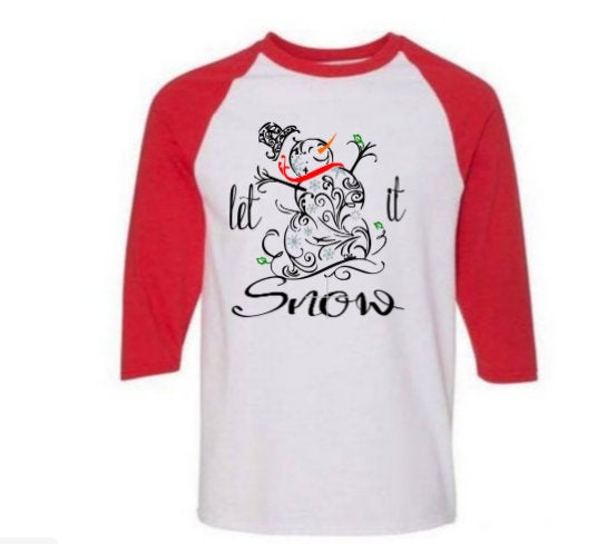 Christmas snowman shirt/ youth winter shirt/ child snowman raglan