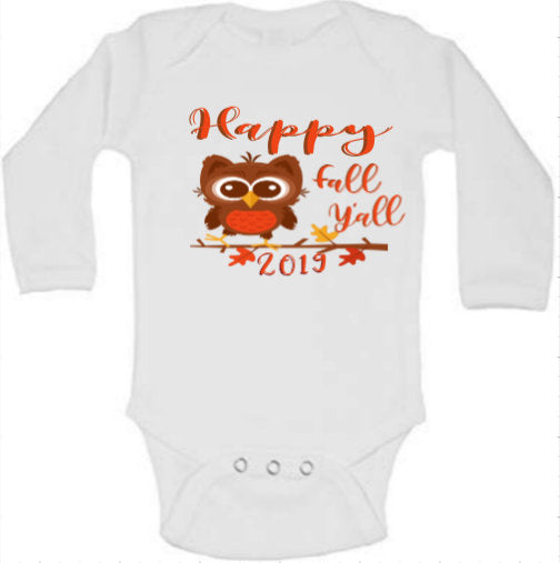 Fall baby onesie, fall baby bodysuit, owl baby onesie, owl baby bodysuit, Happy Fall Y'all,Thanksgiving onesie, Thanksgiving bodysuit
