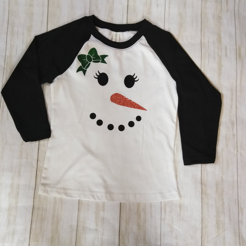 Snowman shirt, Girls Christmas shirt, Chritmas shirt for kids