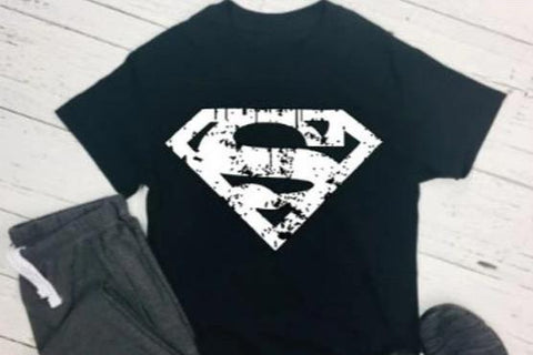 Unisex Superman Tess Shirt With Distressed Superman Crest - SouthernHearth Custom Tees & More