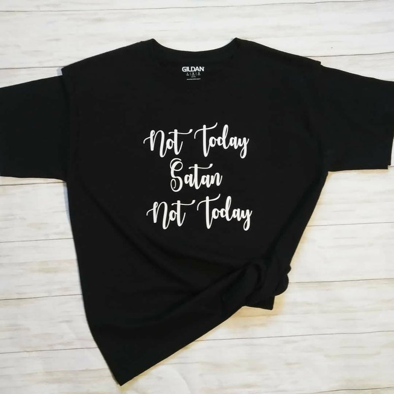 Not today Satan Not today funny Christian tee shirt, Women's funny Christian tee shirt,
