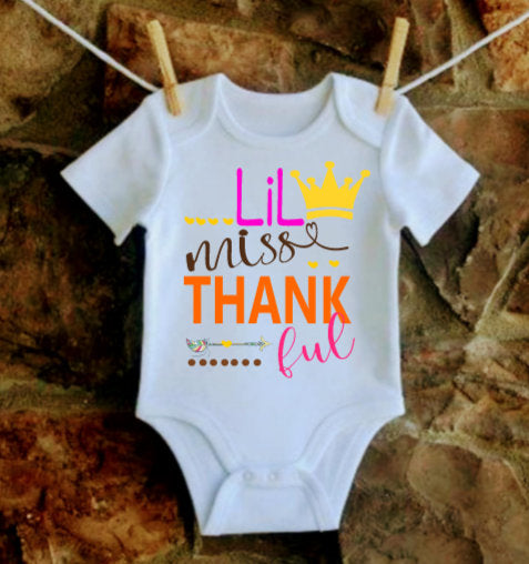 Thankful Onesie, Thanksgiving onesie, Baby Girl Thanksgiving onesie, Girls Thanksgiving shirt