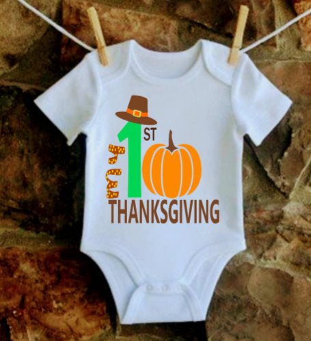 My 1st Thanksgiving Outfit, Baby Boy Thanksgiving shirt, Pumpkin onesie , First Thanksgiving baby boy, Boys Thanksgiving shirt.