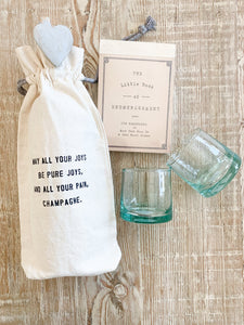 Canvas Wine Bag With Glasses And Encouragement Quote Pack