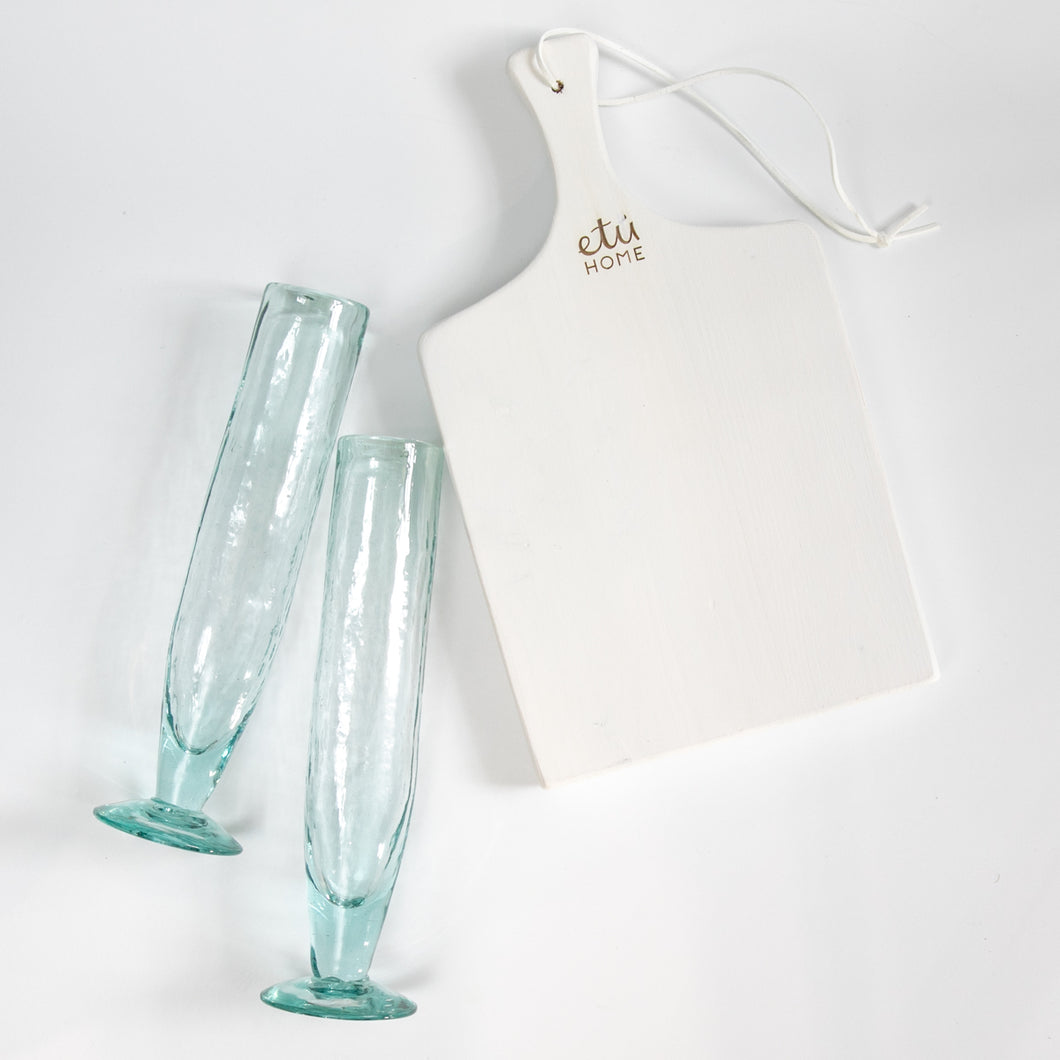 Mother's Day Gift Set Mini Charcuterie Board & Champagne Flutes