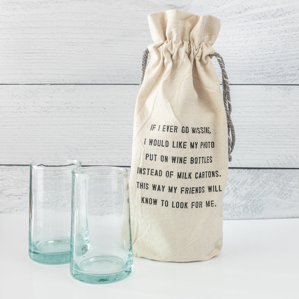 If I Ever Go Missing Wine Bag and Wine Glasses Gift Set