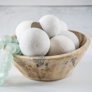 Shelfie Kit #8 Dried Natural Bell Cups with Seaglass Beads in Bleach Bowl
