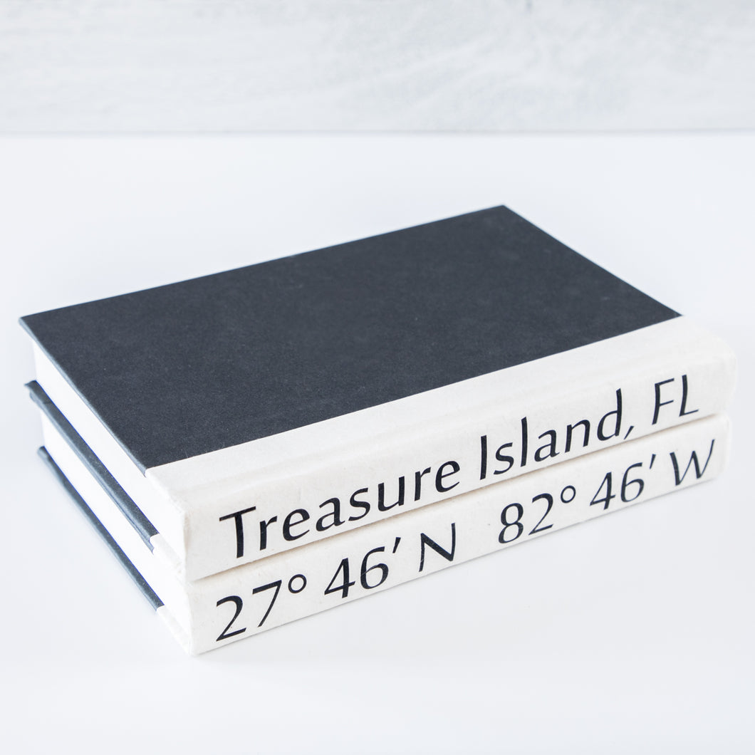 """Treasure Island, FL"" Coordinate Book Stack of Two"