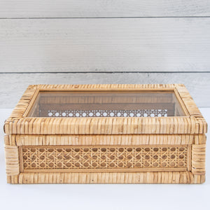 Woven Cane & Wooden Box