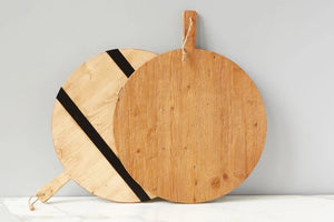 Natural and Black Extra Large Round Charcuterie Board