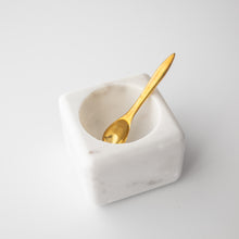 Load image into Gallery viewer, White Marble Bowl with Brass Spoon