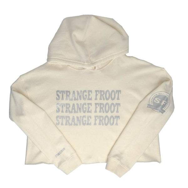 Triple Logo Crop Top Hoodie - Bone