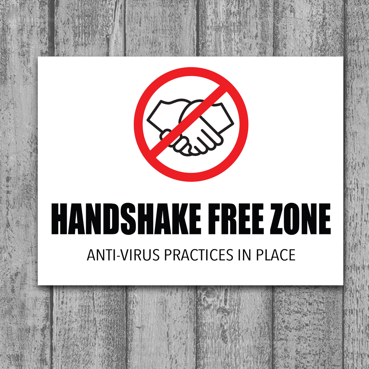 Handshake Free Zone - COVID-19 Prevention Signage