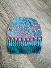 Load image into Gallery viewer, The Happiest of Hats Knitting PATTERN color work flowers baby to adult sizes