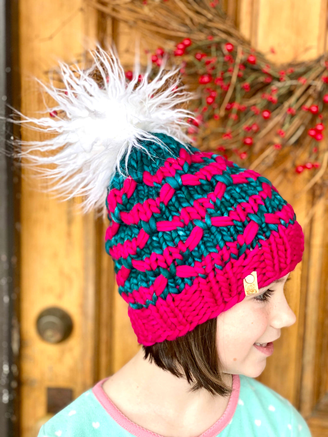Hand knit winter pom pom hat beanie hot pink and teal child kids