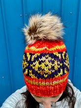Load image into Gallery viewer, Hand knit merino wool winter hand knit pom pom hat beanie orange fair isle