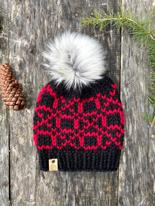 Hand knit wool acrylic womens winter pom hat beanie hugs kisses black and red