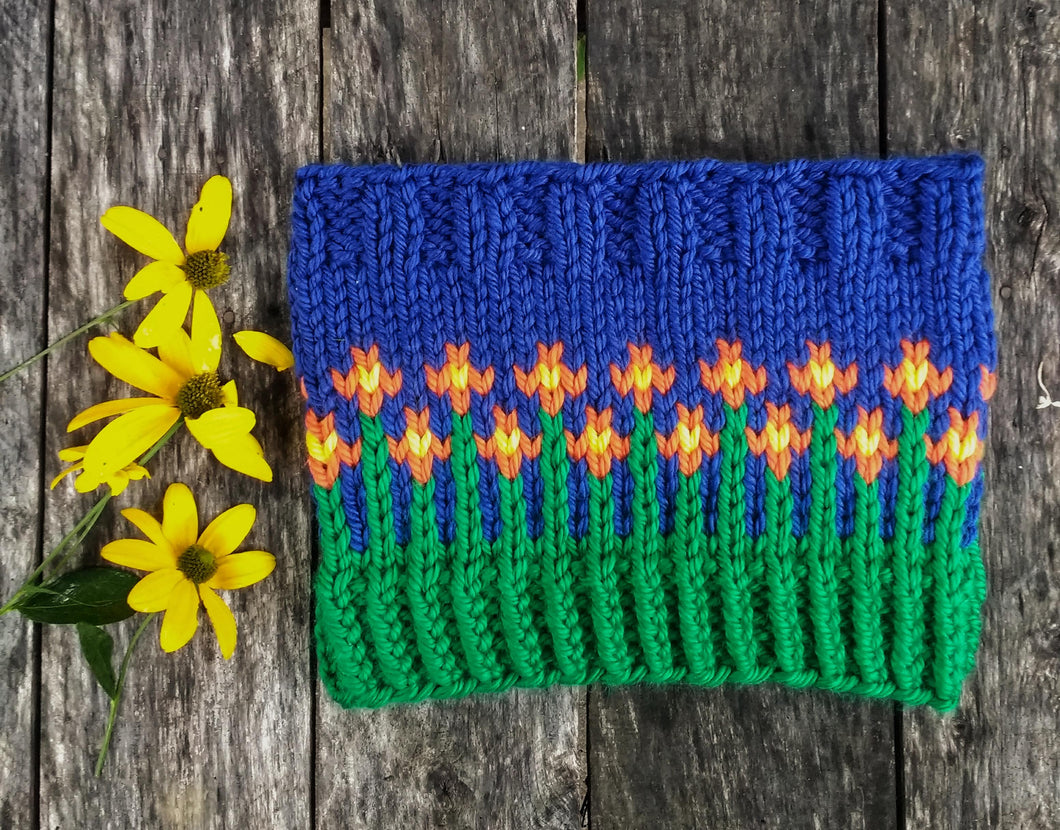 Hand knit happy flower winter cowl neck cozy 100% acrylic gift