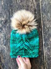 Load image into Gallery viewer, Luxury hand knit green tree beanie winter accessories warm fashion fall cozy stunning