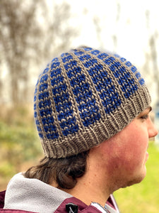 Beanie for the Boyz Man beanie fitted cozy handsome knit hat khaki navy blue wool cap