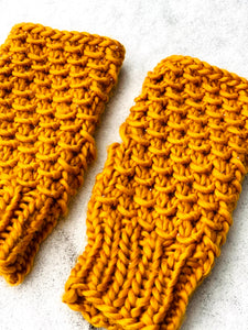 Hand knit cozy fingerless mittens mustard texture recycled plastic warm reuse gift