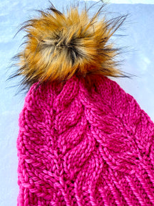 Luxury hand knit 100% hot pink merino wool womens winter hand knit pom pom hat beanie valentine