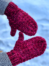 Load image into Gallery viewer, Hand knit wool mittens red hygge classy women adult warm winter fashion soft teens valentine gift