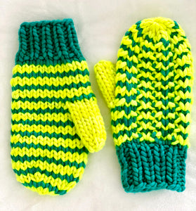 Hand knit wool mittens bright fun neon women adult warm winter fashion soft teens valentine gift