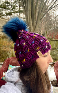 Luxury women's hand knit winter pom beanie purple blue gold white colors wool slow fashion gift