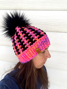 Luxury women's hand knit winter pom beanie hot pink black wool slow fashion gift