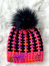 Load image into Gallery viewer, Luxury women's hand knit winter pom beanie hot pink black wool slow fashion gift
