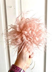 MADE TO ORDER Fun and funky blush pink crimped faux fur pom pom with wooden button