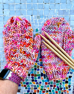 Luxury Hand knit wool mittens pink classy women adult warm winter fashion soft teens valentine gift