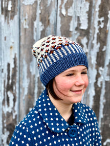 The Happiest of Hats Knitting PATTERN color work flowers baby to adult sizes