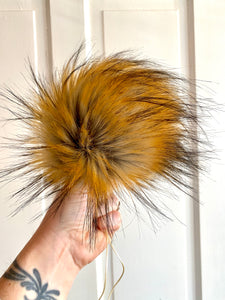 MADE TO ORDER Fun and funky brown gray with long dark brown tip faux fur pom pom with wooden button