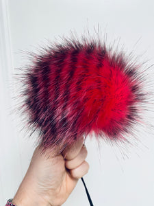 MADE TO ORDER Fun and funky pink zebra hot pink black stripes faux fur pom pom with wooden button