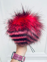 Load image into Gallery viewer, MADE TO ORDER Fun and funky pink zebra hot pink black stripes faux fur pom pom with wooden button