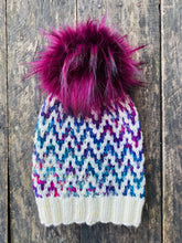 Load image into Gallery viewer, Luxury hand knit 100% rainbow cream merino wool womens winter hand knit pom pom hat beanie