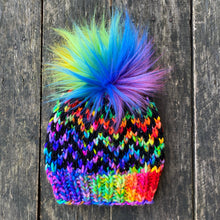 Load image into Gallery viewer, Luxury men women's hand knit chevron winter pom beanie rainbow love pride wool slow fashion gift