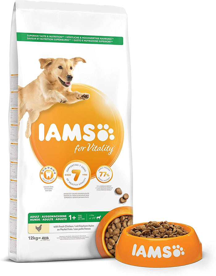Iams for Vitality Adult Large Breed Dog Food with Fresh Chicken 12kg