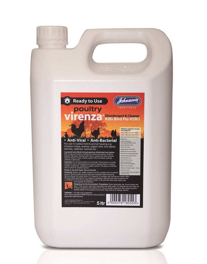 Johnsons Virenza Poultry Disinfectant 5 ltr - ready to use